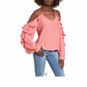 NWOT Leith Cold Shoulder Ruffle Top